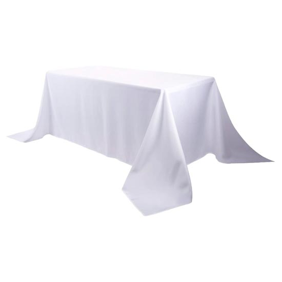 White 8ft Polyester Table Cloth